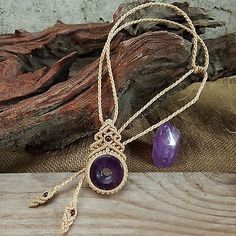 Macrame Necklace Pendant Donut Shaped Amethyst Stone Quartz Waxed Cord Handmade