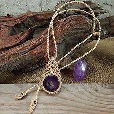 Macrame Necklace Pendant Donut Shaped Amethyst Stone Quartz Waxed Cord Handmade
