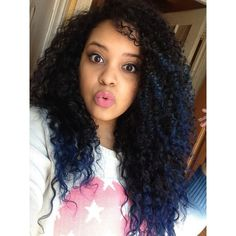 Blue tips. Natural curly hair ombré ❤ liked on Polyvore featuring hair and hairstyles