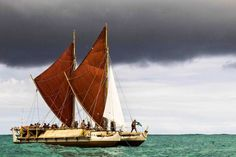 """One year and almost 18,000 kilometres after leaving Hawaii, the Hokule'a canoe has landed in Australia on a three-year journey advocating for the health of the world's oceans. A """"traditionally modern-constructed voyaging canoe"""", the Hokule'a has a GPS as back-up but navigates traditionally using only the sun, stars, planets, winds and the direction of the sea. (Photo: Supplied/Polynesian Voyaging Society)"""