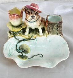 Adorable-Antique-Majolica-Bulldog-with-Hat-Tobacco-Stand-Match-Holder-Striker