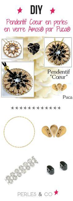 Voici le tutoriel du pendentif Coeur de la créatrice de bijoux Puca avec ses perles en verre Amos. Idée bijou à offrir parfaite ! Swarovski, Beading Patterns, Voici, Mandala, Teal, Diy, Pendants, Brooch, Bracelets