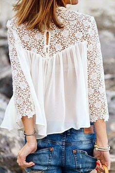 White Lace Splicing Chiffon Long Sleeve T-shirt - blouses, loose, fashion, casual, sheer, dress blouse *ad