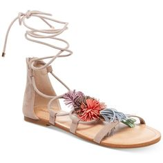 Madden Girl Sofun Lace-Up Tassel Sandals ($49) ❤ liked on Polyvore featuring shoes, sandals, blush, greek sandals, multi colored sandals, ankle wrap sandals, colorful sandals and ankle strap gladiator sandals