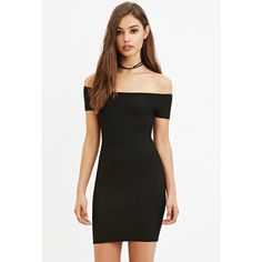 Forever 21 Women's  Off-the-Shoulder Bodycon Dress ($18) ❤ liked on Polyvore featuring dresses, black off the shoulder dress, off shoulder dress, black mini dress, short black cocktail dresses and short sleeve cocktail dress