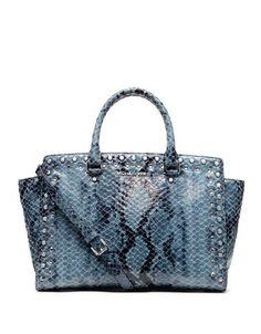MICHAEL Michael Kors Large Jewel Trim Selma Snake-Print Satchel - #Handbag
