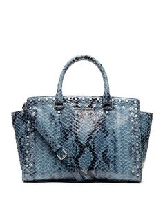 MICHAEL Michael Kors Large Jewel Trim Selma Snake-Print Satchel - http://excellent-handbags.storopa.com/michael-michael-kors-large-jewel-trim-selma-snake-print-satchel/