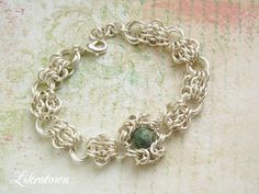 Silver platted chainmaille bracelet. Three patterns.