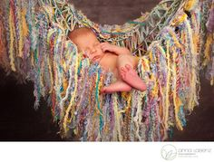 She's READY FOR SUMMER! :D Newborn Photo Prop Fringe Hammock by BabyBirdz ... Now this lil' baby knows how to RELAX! :D