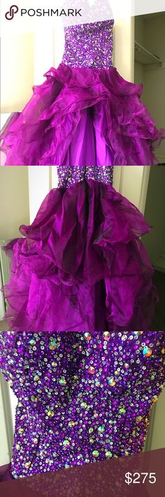 Purple High Low Prom Dress Purple Highlow prom dress, only worn once, has been put up in storage til now. Negotiating on price; best offer. Will deliver if necessary! Really beautiful dress in person as well Dresses Prom