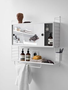 String mirror cabinet brings the elegant functionality of the String System collection also to the bathroom. The cabinet features two sliding mirror doors, and it can be combined with the 20 cm String System panels. White Bathroom Cabinets, Bathroom Mirror Cabinet, Mirror Cabinets, Bathroom Sets, Small Bathroom, Bathroom Storage, Design Bathroom, Mirror Vanity, Mirror Bedroom