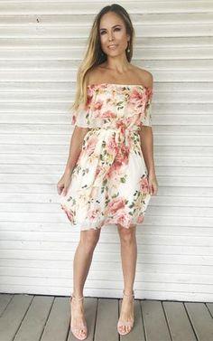 Lydia-Ivory. Off the shoulder dress. White floral print dress. Spring/Summer dress with heels.