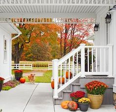 A pretty and practical breezeway connects a heated porch with this Michigan farmhouse. More photos from this home: http://www.midwestliving.com/homes/featured-homes/house-tour-dream-acres-farmhouse-michigan/?page=1