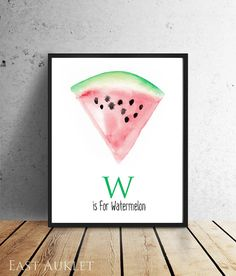 W is for Watermelon Watercolor Alphabet Painting Giclee Print by East Auklet