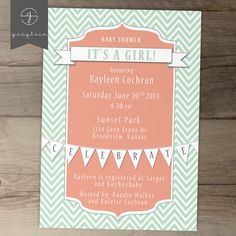 Baby Shower Invitations / Mint Coral Chevron / DIY by greylein