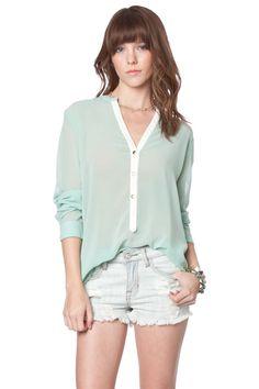 ShopSosie Style : Paloma chiffon blouse in mint