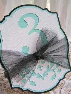 Wedding Table Numbers   /  tiffany blue numbers and whatever color tulle ribbon.......so vintagey!   and by milkdustcreations, $3.60