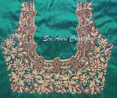 This design is for antique bead lovers. Cutwork Blouse Designs, Wedding Saree Blouse Designs, Best Blouse Designs, Embroidery Neck Designs, Hand Work Embroidery, Zardosi Work Blouse, Hand Work Blouse Design, Maggam Work Designs, Designer Blouse Patterns