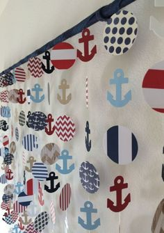 Nautical Anchor Paper Mobile Decor Wall Hanging by CraftyLittlePeas on Etsy Baby Shower Themes, Baby Boy Shower, Baby Shower Decorations, Sailor Theme Baby Shower, Nautical Party, Nautical Anchor, Nautical Backdrop, Baby Shower Marinero, Anchor Paper