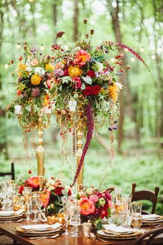 Wedding Inspiration such amazing vibrant colors in this tall candelabra wedding centerpiece! - would make a gorgeous fall wedding centerpiece! Candelabra Wedding Centerpieces, Floral Centerpieces, Wedding Decorations, Centerpiece Ideas, Gold Candelabra, Wedding Ideas, Tall Flower Centerpieces, Wedding Inspiration, Wedding Shoot
