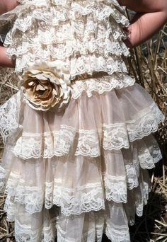 Rustic Cream Flower Girl Lace Dress/Rustic Flower Girl Outfit/Wheat Cream Flowergirl/Country Wedding/Burlap/Jute Belt