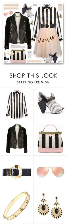 """""""Striped shirt"""" by anne-irene ❤ liked on Polyvore featuring Balmain, Chi Chi, Abcense, Roksanda, Ray-Ban, Cartier, StreetStyle, stripes, leatherjacket and tulleskirt"""