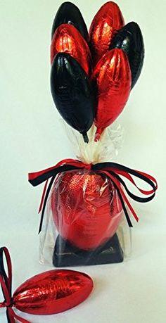 Chocolate Football Bouquet and Centerpiece Chocolate Footballs, Easter Ideas, Centerpieces, Perfume Bottles, Bouquet, Bouquet Of Flowers, Center Pieces, Perfume Bottle, Bouquets
