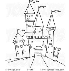 cartoon-black-and-white-line-drawing-of-a-path-leading-to-a-castle-by-ron-leishman-7915.jpg (581×600)