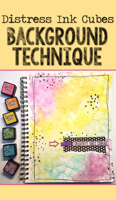 Easy distress ink background technique for beginners - mixed media art journal scrapbooking layouts, scrapbook Art Journal Pages, Art Journal Backgrounds, Art Journals, Bullet Journals, Mixed Media Techniques, Mixed Media Tutorials, Art Techniques, Art Tutorials, Mixed Media Journal
