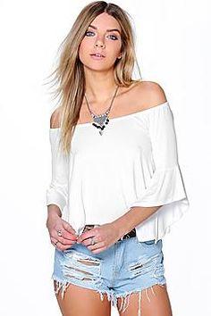 Maya Frill Sleeve Jersey Bardot Top
