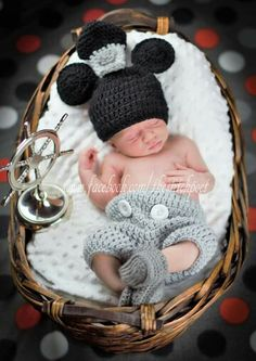 Crochet Mickey Mouse Steamboat Willie - newborn photography - www.facebook.com/thestitchpoet