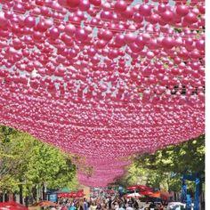 Amazing Pink Ball Ribbon Suspension
