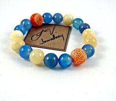 Agate & Jadeite Bracelet Luxury Spring Gemstone by IvJewellery