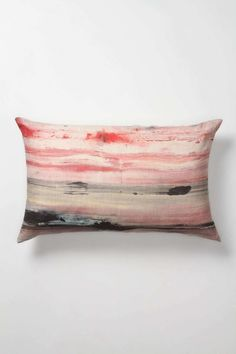 Fusion Cushion – A fiery sunset sinks into the sea as warm waves lap against the shore. ♥ Cushions by Haby Bonomo for Genevieve Levy edition.