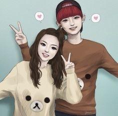 CHANDARA FANART 2ne1, Chanyeol, Otp, Fan Art, Photo And Video, Anime, Fictional Characters, Korea, Instagram