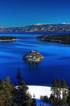 Lake Tahoe, California is a tourist area thats active all year round.
