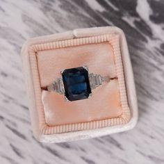 Deep blue sapphire vintage Art Deco engagement ring ♥ Shop more sapphires at Trumpet