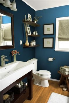 You Should Totally Bookmark These Plush Basement Bathroom Ideas Tags: Tags: basement bathroom ideas, basement bathroom plans, small bathroom design ideas, small bathroom decor ideas Best Bathroom Paint Colors, Paint Bathroom, Bathroom Cabinets, Small Bathroom Paint Colors, Blue Bathroom Decor, Restroom Cabinets, Bathroom Vanities, White Bathroom, Bathroom Interior