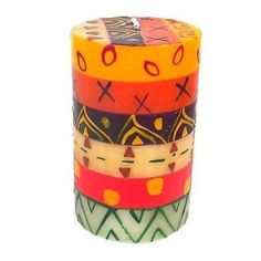 Single Boxed Hand-Painted Pillar Candle - Indaeuko Design Handmade and Fair Trade. This pillar candle, hand-painted by South African artisans, arrives in a recycled cardboard gift box. Cool Beautiful Decorative Candles Ideas | Awesome Unique Candlesticks online shop store | Colorful Candle Centerpieces | Unique African Handmade Homemade Fall Candles Ideas | Colorful Candles shop store | Colorful Candlesticks | Unique ideas for home decor | living room bedroom bathroom | yoga spa altar…