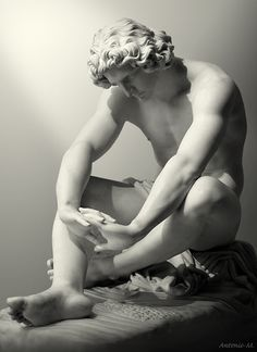 """""""Le Désespoir (The Despair)"""" in 1869 by Jean-Joseph Perraud (Monay 1819 - Paris 1876). Marble (height:108cm). Musée d'Orsay, Paris. According to Eaton, """"During the Second Empire, no sculptor enjoyed a greater reputation"""" although his style fell out of fashion soon after his death. The Despair was his most important piece and it was executed for the 1869 Salon after being received with universal acclaim, in plaster, at the 1861 Salon under the title """"Nothing lasts in this world of pain""""."""