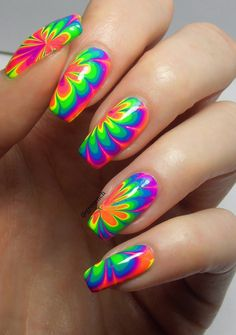99 Gorgeous Water Marble Nail Art Designs Ideas Youll Want To Try This Season, Summer Acrylic Nails, Cute Acrylic Nails, Summer Nails, Rainbow Nails, Neon Nails, Stylish Nails, Trendy Nails, Nail Polish Designs, Nail Art Designs