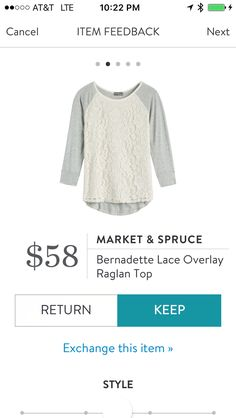 Market & Spruce Bernadette Lace Overlay Raglan Sleeve Top