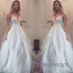 Beautiful V-neck white organza long prom dress with straps, ball gowns wedding…