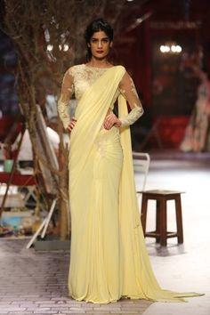 Light Yellow Saree Gown By Monisha Jaising For ICW 2014.
