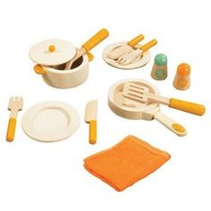 "Educo Gourmet Chef Cookware by Hape. $29.99. Encourage creativity. Perfect kitchen starter set. Made of natural wood with orange water-based paint. Perfect addition to Gourmet Chef Kitchen and Gourmet Chef Cuisine. Assembly is simple and all tools and hardware needed are included. From the Manufacturer                This is the perfect set of cookware to get your young chef ""cooking"". The cookware, dinnerware, and silverware are made of natural wood with orange water-..."