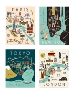 Rifle Paper Co. City Map Notecard Set, Assorted Home - Bloomingdale's Rifle Paper Company, Travel Themes, Travel Posters, Travel Maps, Spot Illustration, Map Illustrations, Posca Art, City Maps, Travel Design