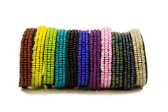 Pulseras Multicolor con mostacillas bordadas en cuero / Bracelets Multicolor leather embroidered with beads