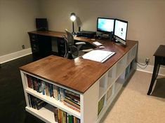 Farmhouse desk diy offices ana white 63 ideas for 2019 Diy Office Desk, Diy Computer Desk, Home Office Space, Diy Desk, Home Office Desks, Corner Desk Diy, Office Ideas, Ikea Desk, Office Decor