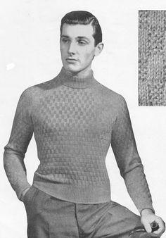 vintage mens tank top knitting pattern 1940s