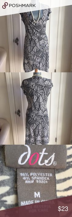 """Dots Black, White and Gray Dress. Gorgeous. Dots Black, White and Gray Dress. Gorgeous. Bust 38"""". Waist 29"""". Skirt stretchy with slight A line. Waist to hem 22"""". So comfy, flattering and pretty. Dots Dresses"""